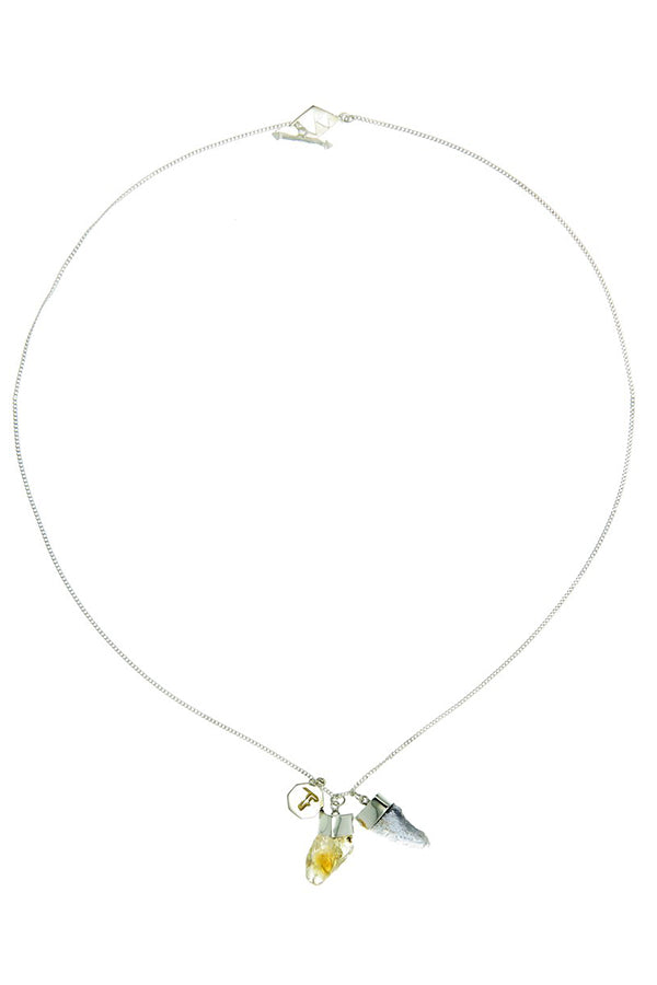 Superpower Charm Necklace - Citrine and Iolite - Silver