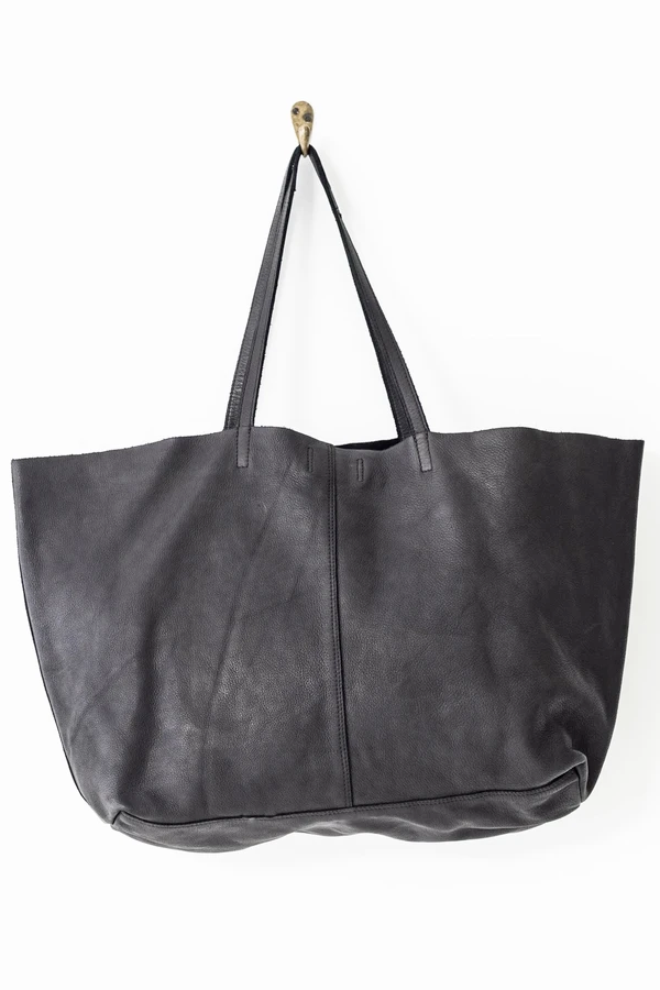 Juju & Co | Unlined Leather Tote - Black