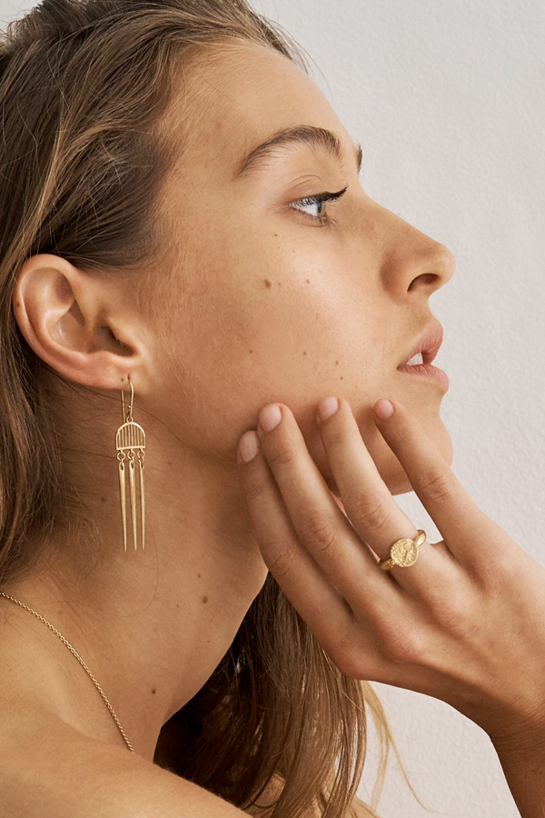 Temple Of The Sun | Zahleh Earrings - Gold