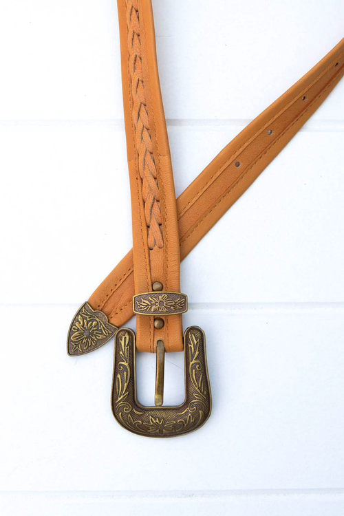 Rodeo Belt - Tan/Brass Buckle