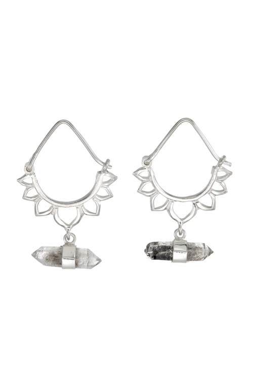 Tiger Frame Lotus Crystal Earrings