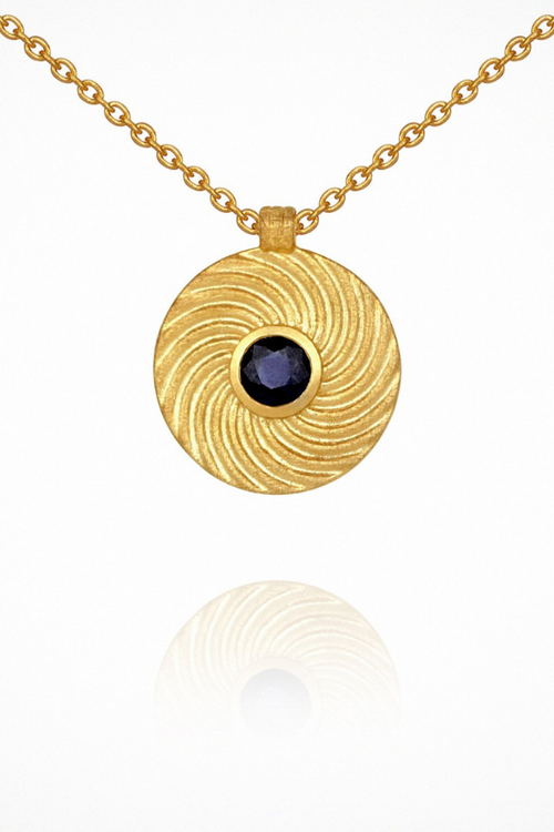 Temple Of The Sun | Shine Necklace - Sapphire Gold