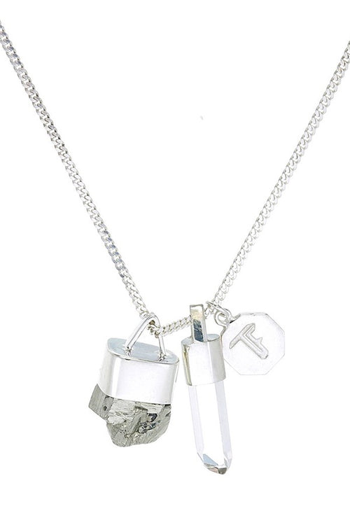 Superpower Charm Necklace - Pyrite and Quartz - Silver (RESTOCKED)