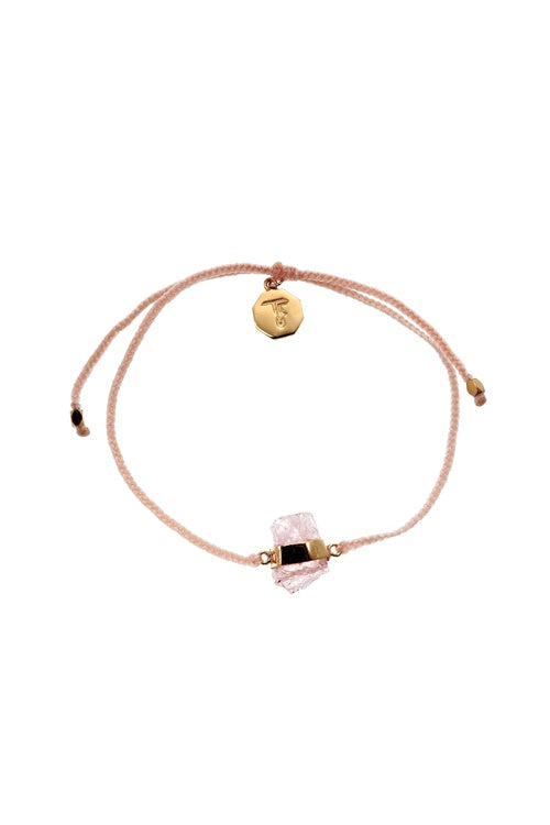 Morganite Crystal Bracelet - Pale Pink - Gold