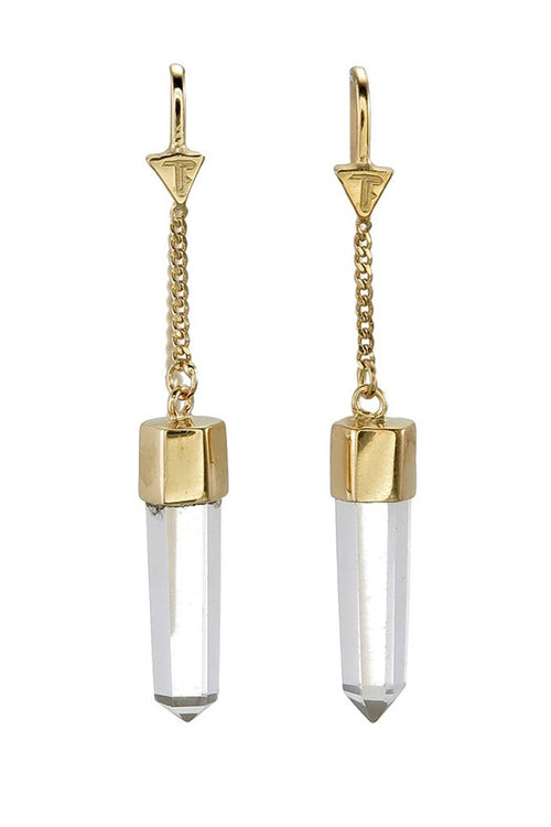 Clear Quartz Crystal Point Pull Through Earrings - Gold (RESTOCKED)