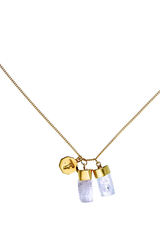 Superpower Charm Necklace - Aquamarine and Kunzite - Gold