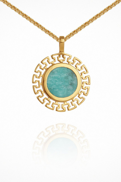 Temple Of The Sun | Kosmos Necklace - Amazonite Gold