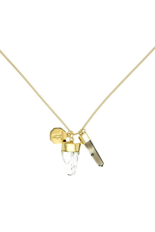 Superpower Charm Necklace - Scapolite and Smokey Quartz - Gold (RESTOCKED)