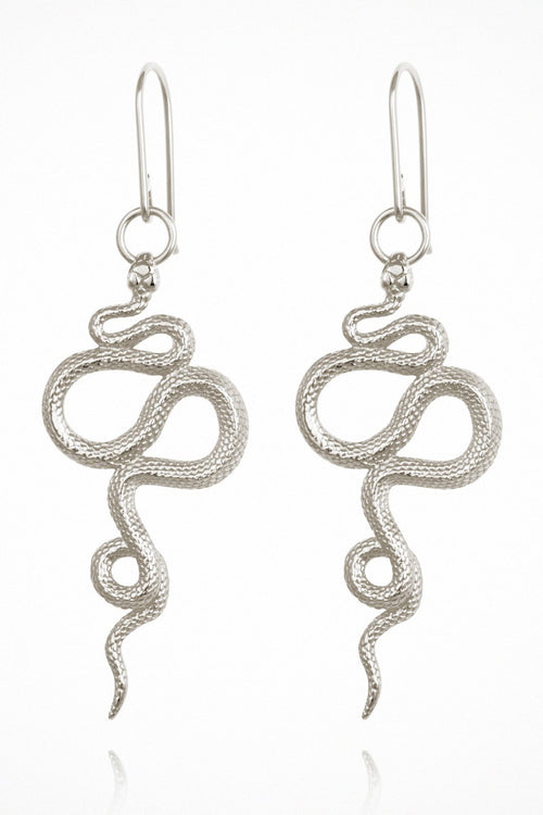 Temple Of The Sun | Snake Earrings - Silver