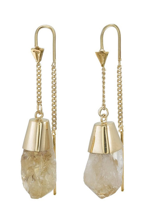 Rough Citrine Pull Through Earrings - Gold