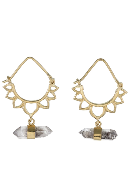 Tiger Frame Jewellery Lotus Crystal Earrings