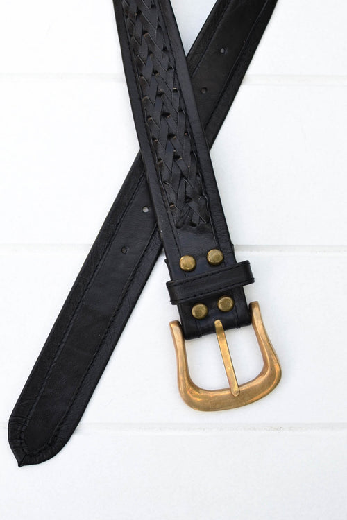 Super Rodeo Belt - Black/Brass Buckle