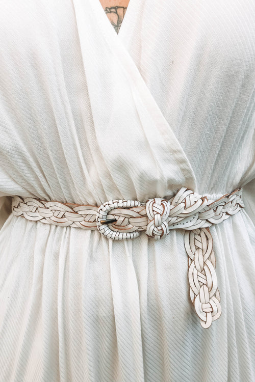 Ma Honey Plaited Belt - White