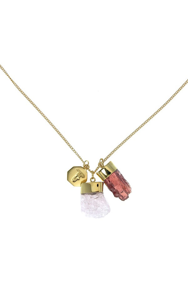 Superpower Charm Necklace - Morganite and Garnet - Gold