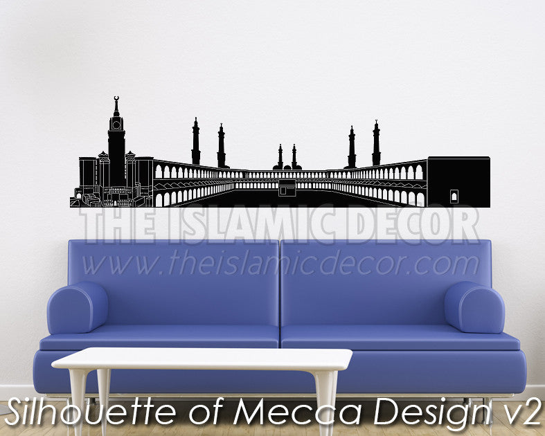 Silhouette of Mecca Design V 02 Wall Decal - The Islamic Decor