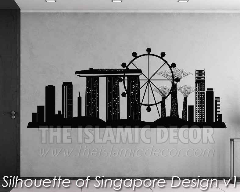 Silhouette Of Singapore Design V 01 Wall Decal The Islamic Decor