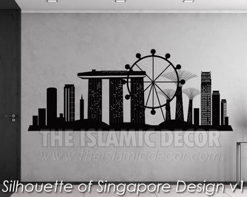 Silhouette of Singapore Design V 01 Wall Decal - The Islamic Decor