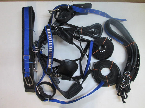 Synthetic Blue&Black Driving Harness With Stunning White Metal Fitting-