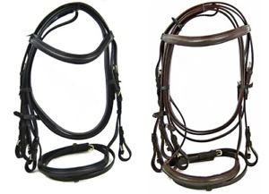 The Ragnar Collection Ragnar collection quailty leather bridle with sure grip rubber reins Black & Brown
