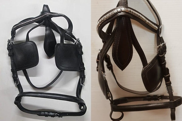 Quality Leather driving bridle- Brown & Black