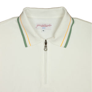 Tiger 1/4 Zip Polo Linden Green/White