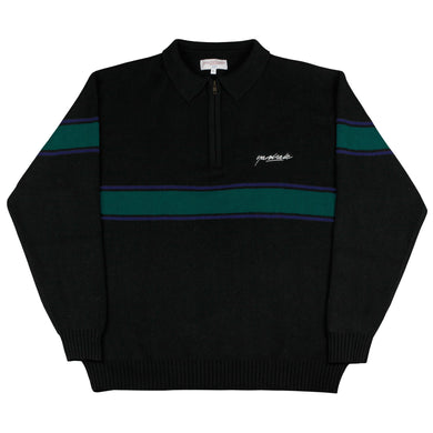 Meridian Knitted Quarterzip Black/Emerald