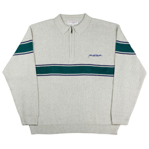 Meridian Knitted Quarterzip Grey/Emerald