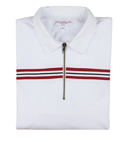 White Ribbed Polo