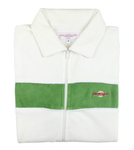 White/Green Velour Track-Top
