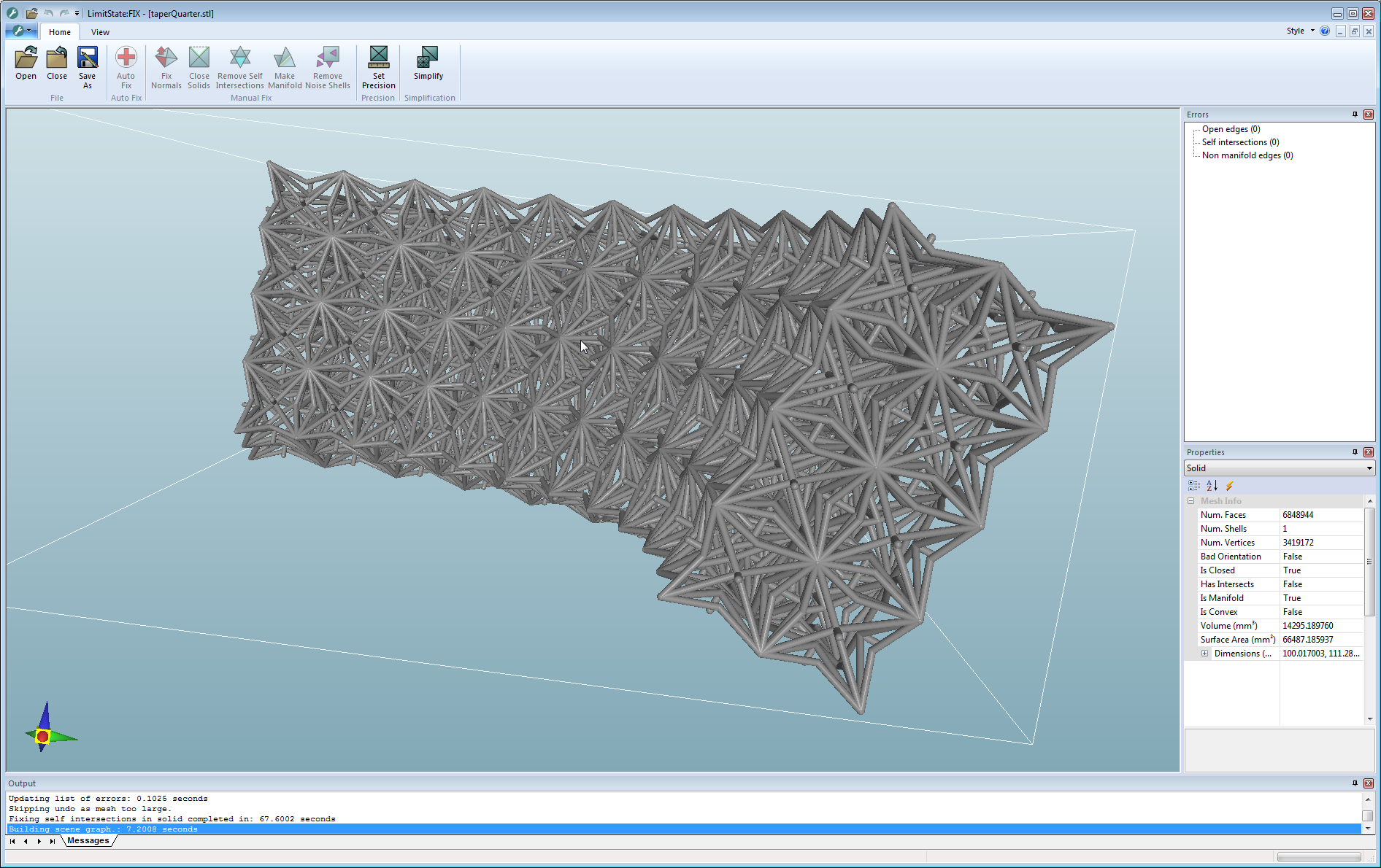 3D STL model of complex aerospace lattice using auextic materials