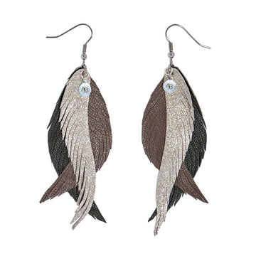 Leather Angel Wings earrings silver, taupe and olive - Annabel Brocks