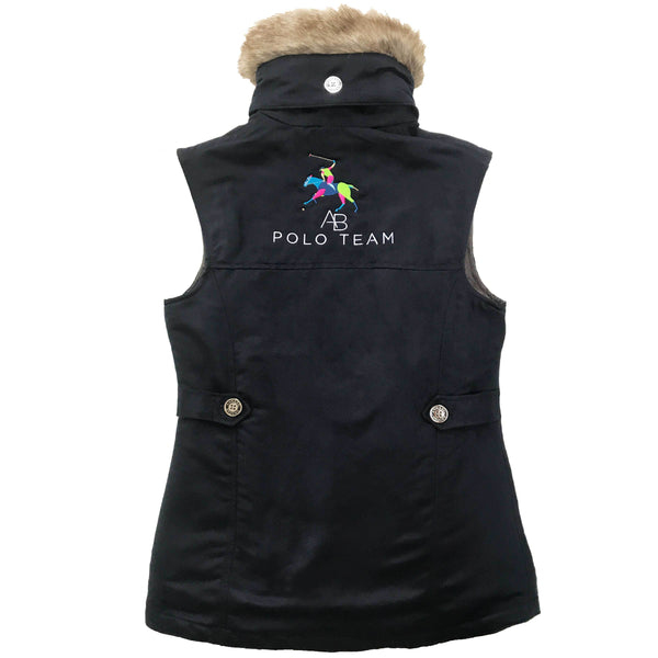 AB Polo Navy Faux Suede Pelham Gilet with Removable Faux Fur Collar - Annabel Brocks