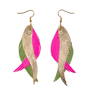 Leather Angel Wings earrings gold, pink & green - Annabel Brocks
