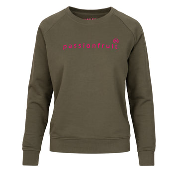 Nourish Sweatshirt - Olive with Pink Passionfruit - Annabel Brocks