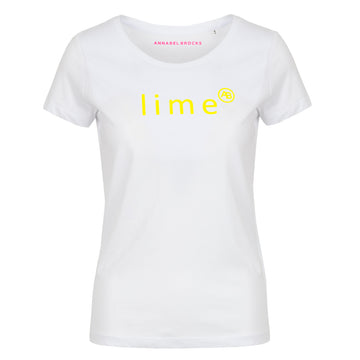 Nourish t-shirt - White with Lime - Annabel Brocks