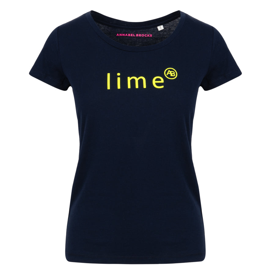 Nourish t-shirt - Navy with Lime - Annabel Brocks