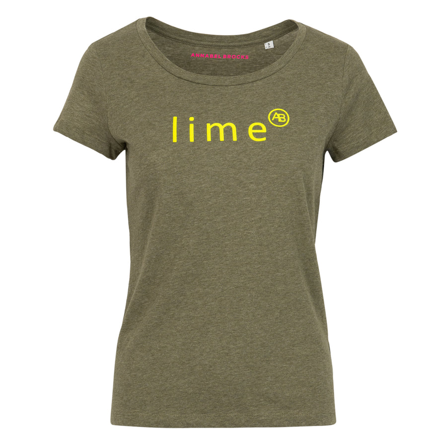 Nourish t-shirt - Khaki with Lime - Annabel Brocks