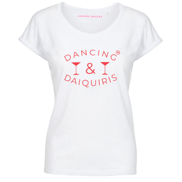 Dancing and Daiquiris - white with strawberry red - Annabel Brocks