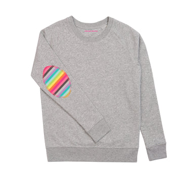 Light Grey with Rainbow elbow Patch