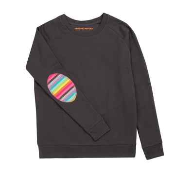 Dark Grey with Rainbow elbow Patch - Annabel Brocks