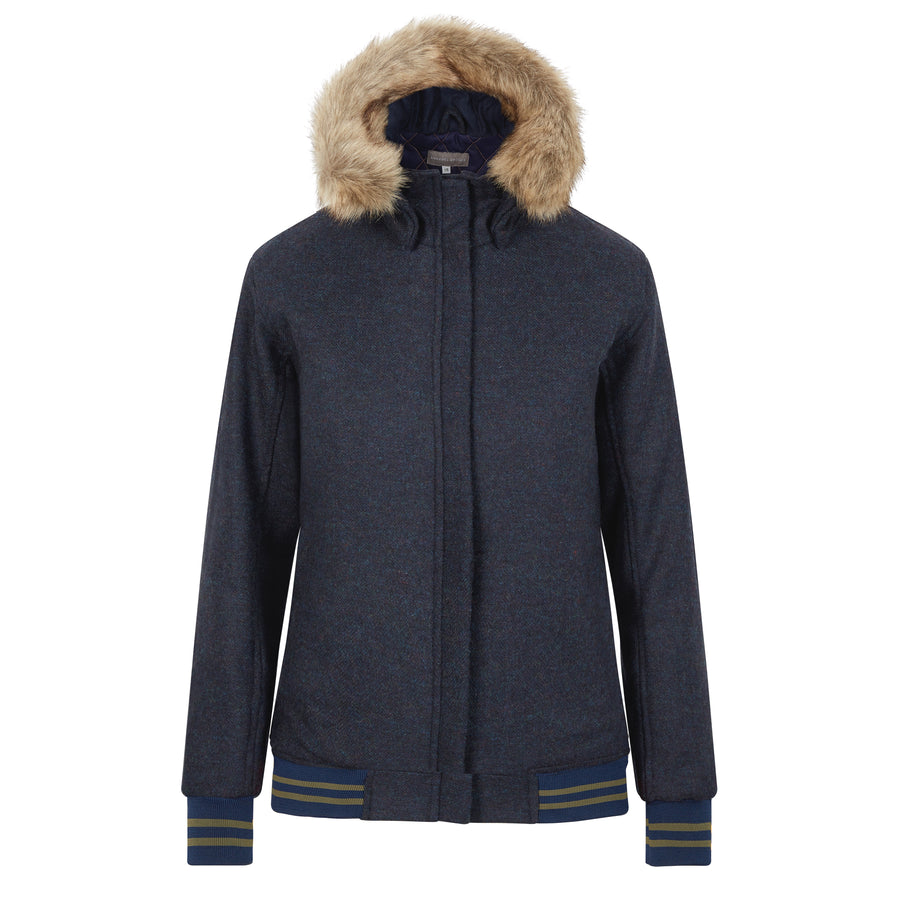 The Bomber'- navy with navy and green - Annabel Brocks