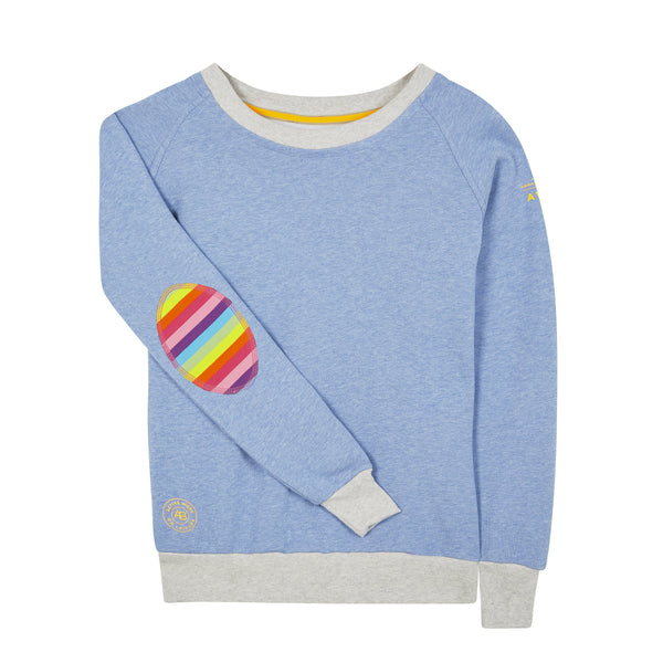 AWOL - Organic Baby Blue with Grey Rib and Rainbow Patch - Annabel Brocks