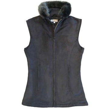 Black Faux Suede Gilet with Charcoal Faux Fur Collar - Annabel Brocks