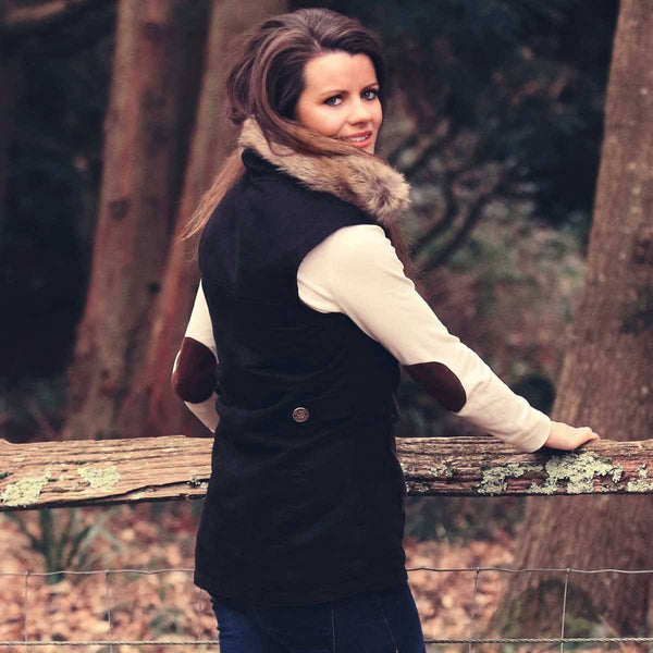 Black Faux Suede Gilet with Natural Faux Fur Collar SALE NOW - Annabel Brocks