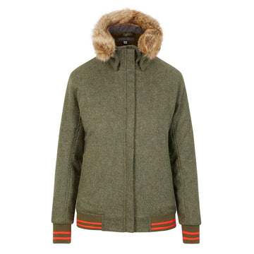 The Bomber'- green with olive and coral - Annabel Brocks