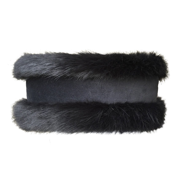 Luxury Charcoal Faux Fur and Black Velvet Head Warmer - Annabel Brocks
