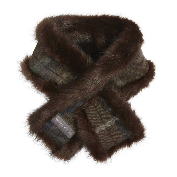 ec69aef195dc0 Faux Fur Brown and Brown Toned Tweed reversible Head Warmer and Neck Warmer  Set - Annabel ...
