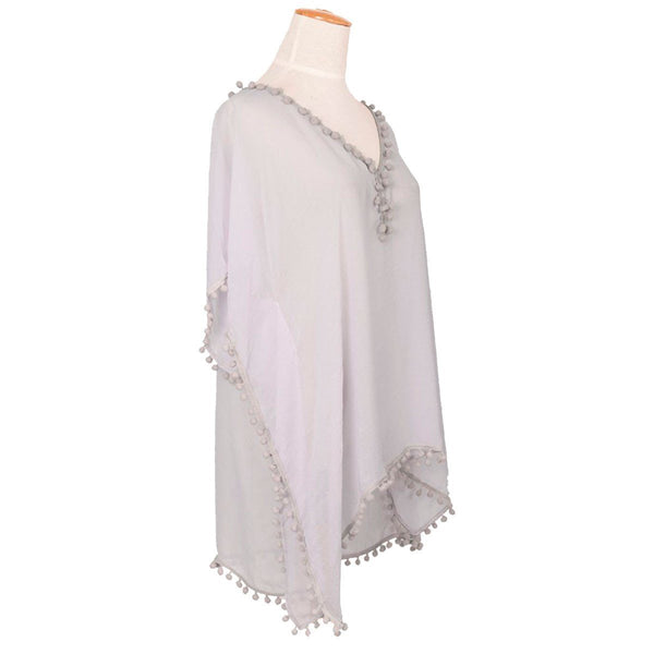 Pom Pom Kaftan - Grey with Grey pom pom - Annabel Brocks
