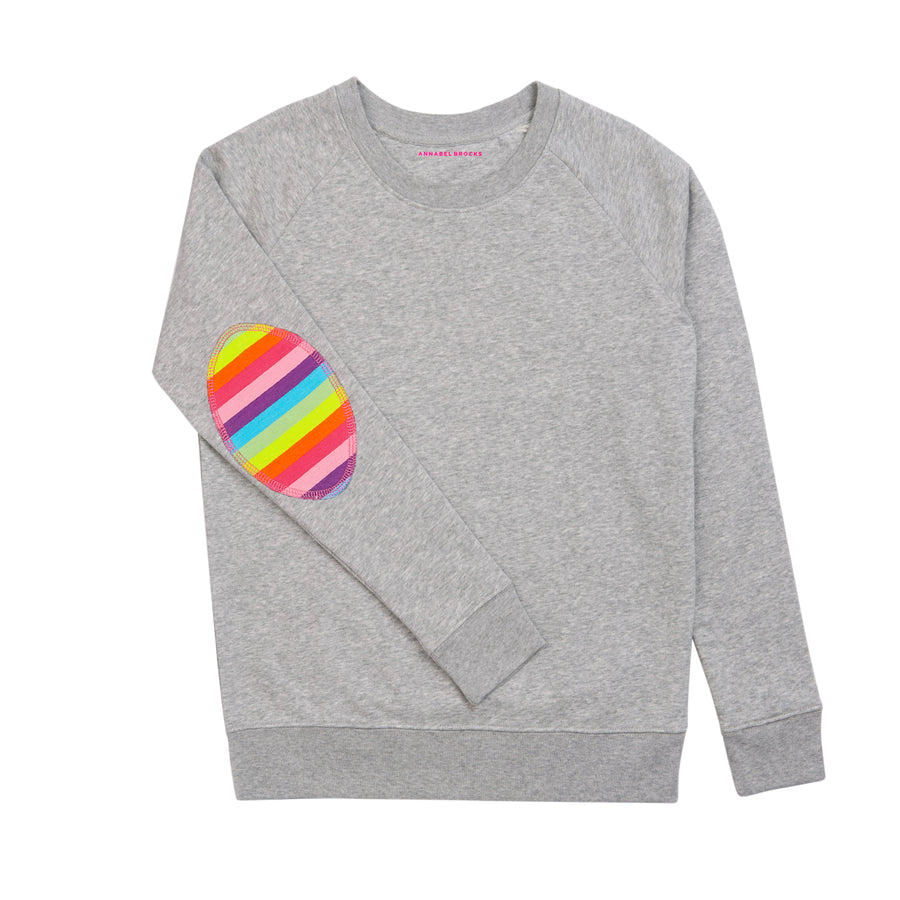 Grey with Rainbow elbow Patch (new) - Annabel Brocks