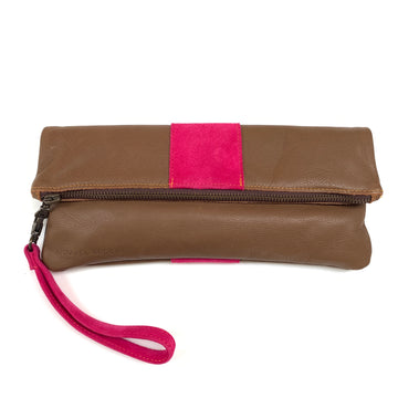 Tan and pink fold over clutch bag - Annabel Brocks
